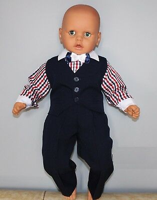 Baby Boy Suit Navy Check Outfit Waistcoat Smart Christening Baptism 3 6 9 12 24m Perfect In Workmanship