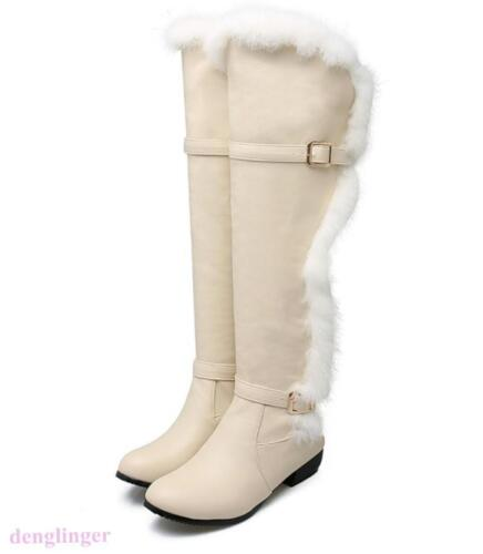 Women Round Toe Fur Warm Knee High Boots Buckle Chunky Heels Snow Shoes US SIZE