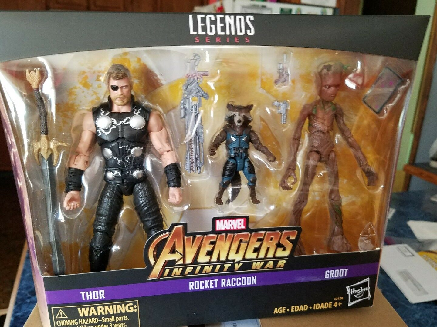 Los Vengadores Infinito Guerra Marvel Legends Thor Rocket Raccoon Groot 3 Pack Toys R Us