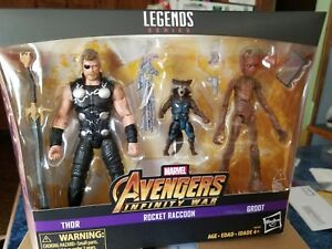 Marvel Legends Les Vengeurs Infinity War Thor Fusée Raccoon Groot 3 Pack Toys R Us 630509635290