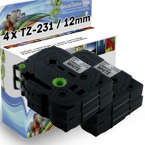 4x Farbbänder für Brother TZ-231 P-Touch PT E100VP E105 E110 E110VP E300 E300VP