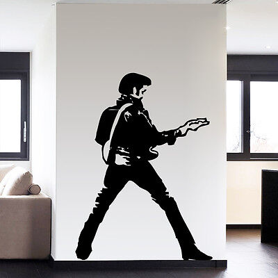 Large Elvis Presley Guitar Music Icon Wall Art Decoration Vinyl Sticker Decor