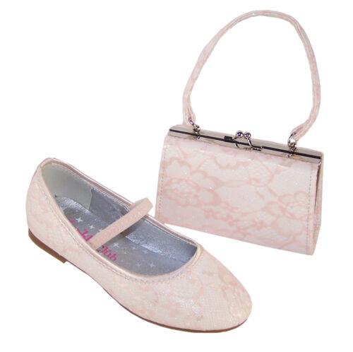 Girls Children Kids Ivory Sparkle Flat Shoes Party Dress Flower Girl Ivory Bag