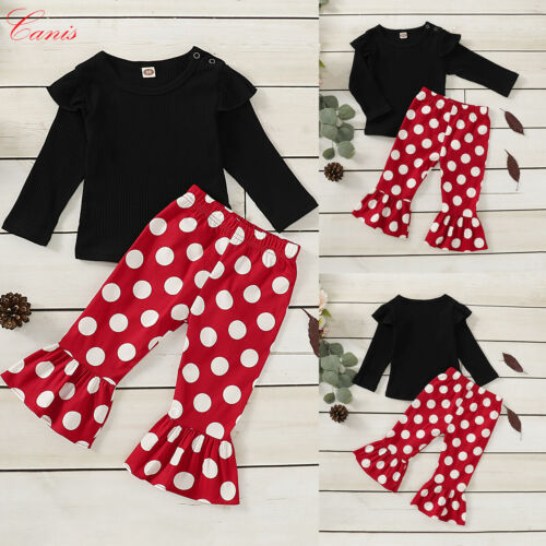 Newborn Baby Girl Clothes Solid Ruffle Tops Polka Dot Flared Pants Outfit Set UK
