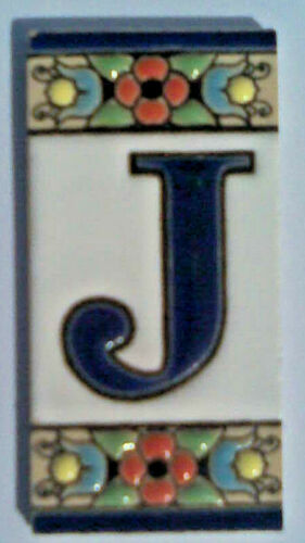 Spanish Hand Painted Number /& Letter Ceramic Tiles 3/'/'x1.5/'/' Frames Dog Cat Sun