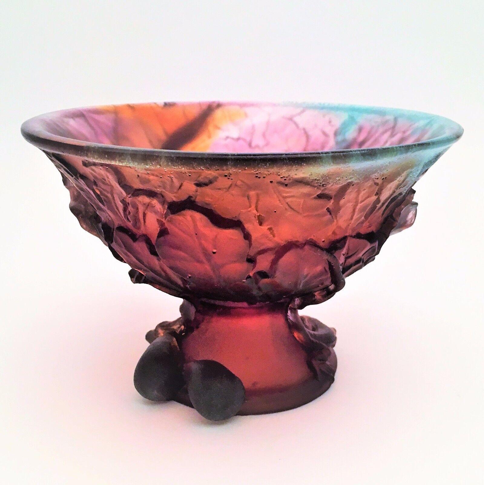 Daum Crystal Fig Bowl with Lizard on Base- NIB  1631