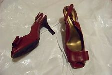 womens nickels kala dark red patent open toe large bow slingback heels shoes 9.5