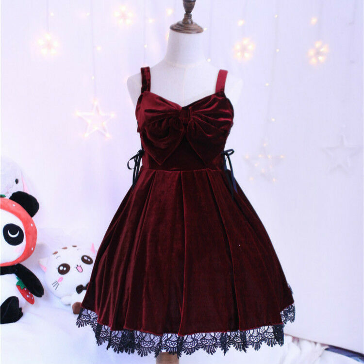 Waltz Wine Red Lace Bow Elegant Suspender Dress JSK Lolita Style White Tops