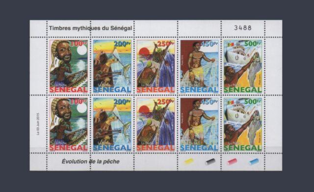 SENEGAL 2015 DESIGN 1977 EVOLUTION PECHE FISHING POISSONS FISH FISHES SHEET MNH