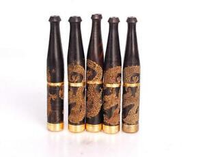 Reusable-New-Handmade-Carving-Dragon-Filter-Tobacco-Cigarette-Holder-Ebony-Smoke