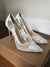 Christian Louboutin Follies White Flower Lace 100mm Wedding Shoe Size 38 or 8