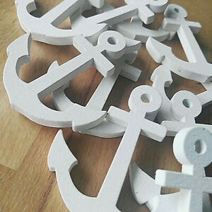 10 x Anker Anchor 6.7 x 6cm Holz Holzanker Tischdekoration Deko Maritim weiß
