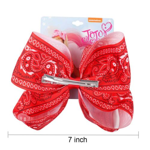 JoJo Siwa Large Red Bandana Print Hair Bow 7 inches Giirl Birthday Party gift