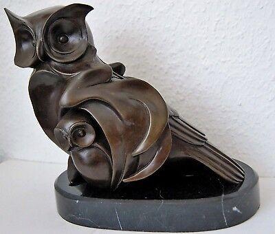 Skulptur Figur Bronze teilpoliert schön verziert Eule Uhu