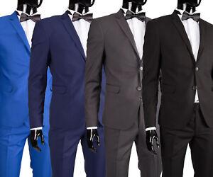 Herrenanzug-in-Blau-Dunkelblau-Grau-Schwarz-Smoking-Anzug-Hochzeit-Buehne