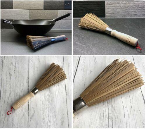 Bambú Eco Friendly Wok Sartén Natural Cepillo de limpieza