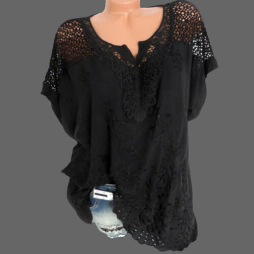Women V-Neck Short Sleeve Hollow Out Casual Blouse Loose Tops Summer T-Shirt US