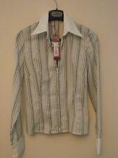 Kenzo Jungle women's new white striped zipped shirt size 38