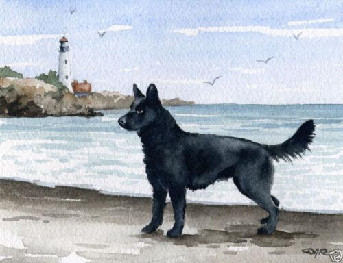 BLACK GERMAN SHEPHERD Painting 8 x 10 Art Print by Artist DJR