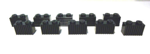Profile 1x2 in Black New 10 x Lego ® 2877 system Fluted stones Grooves bricks