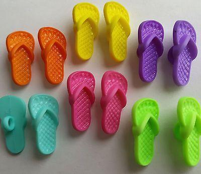 BRIGHT FLIP FLOPS Sandals Beach Summer Seaside Shoes Dress It Up Craft Buttons