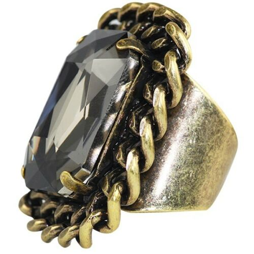 Tallulah Antique Plated Square Adjustable Khaki Fashion Cocktail Statement Ring