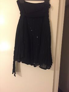 New-Look-Sequined-Black-12-Skirt-With-attached-Matching-Belt