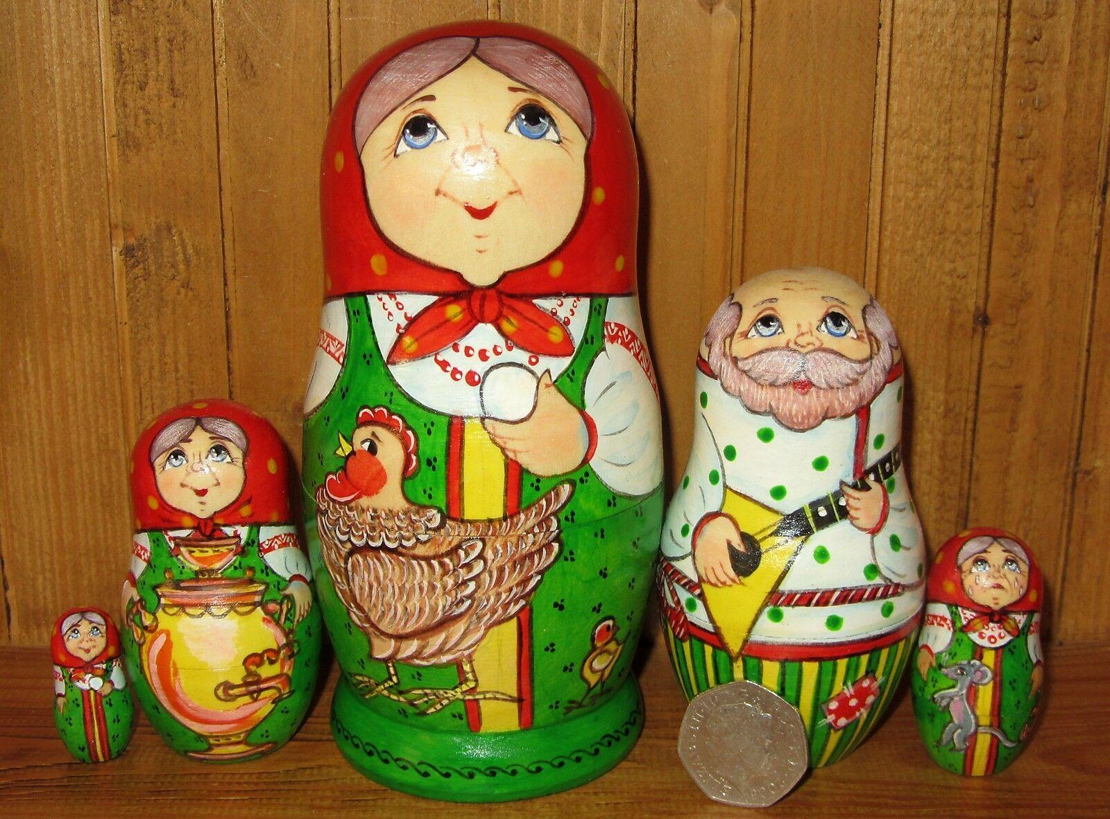 MATRIOSKA bambole Babushka 5 Racconto Fairy GALLINA ryaba FIRMATO SIDOROVA