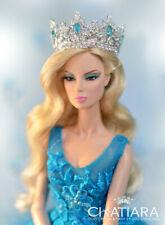 Handmade Diamond Platinum Crown Silver Tiara Barbie Fashion Royalty Silkstone FR