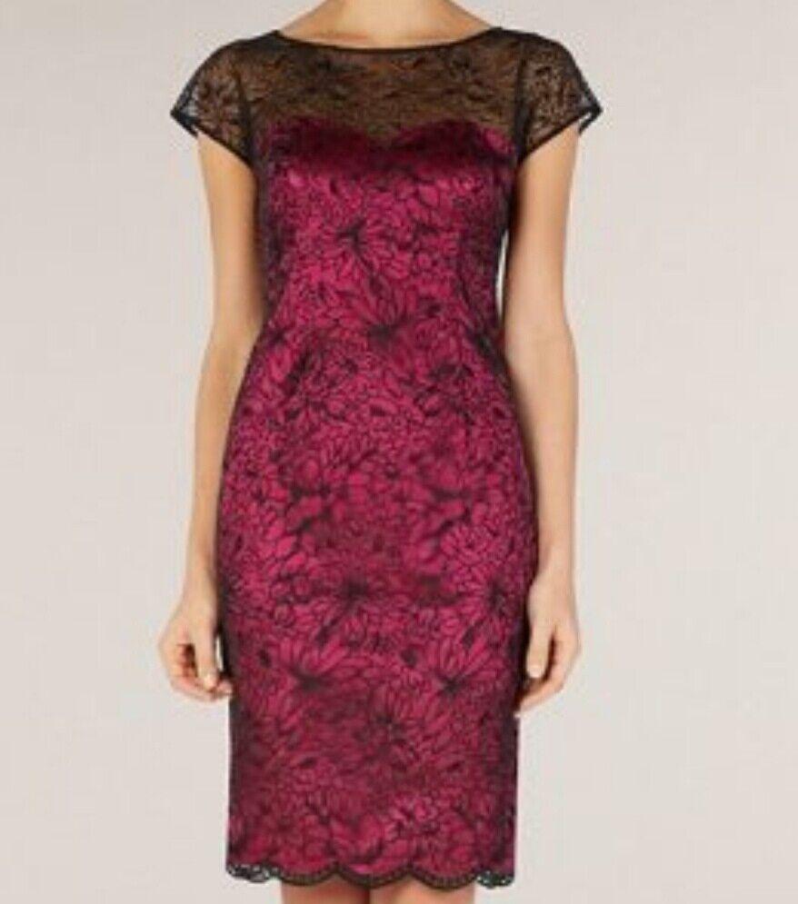Alexon floral organza with pink satin dress size 14  brand new