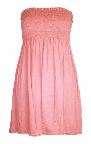 Womens Sleeveless Boobtube Bandeau Dress Ladies Plain Sheering Casual Top