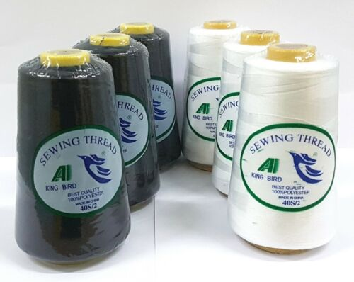6 Large polyester cotton Thread spools sewing all purpose craft assorted colors
