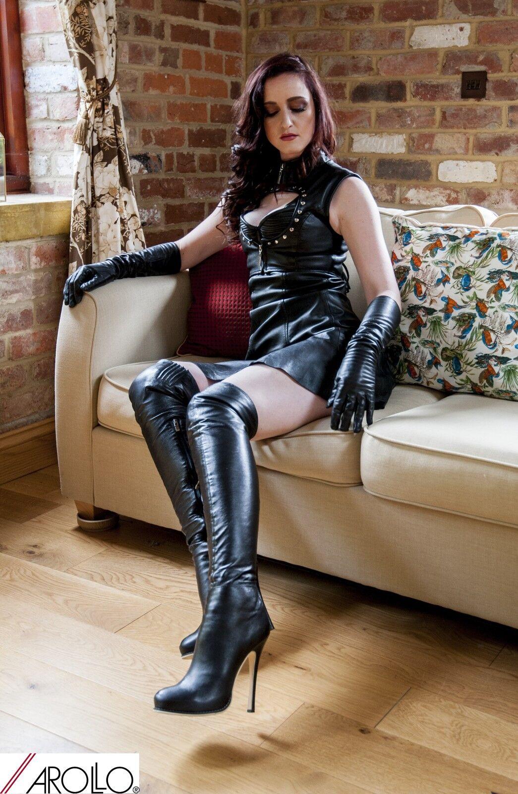 Arollo Echt Leder tacón alto botas altas Queen tamaños 37 38 40 41 42