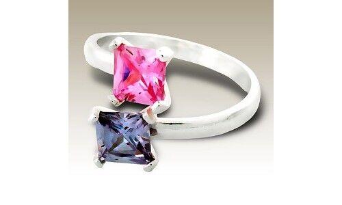 Sterling Silver Ring Princess Lavender CZ Comfort Fit