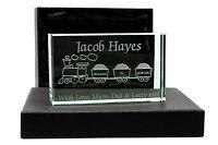 Personalised Jade Glass Block, Laser Engraved Train, Christening Or Newborn Gift
