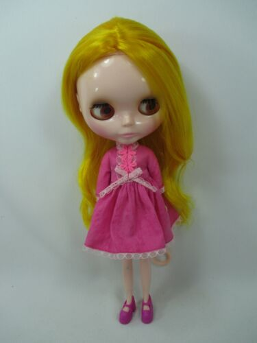 Blythe Outfit Handcrafted long sleeve pink dress basaak doll # 790-19