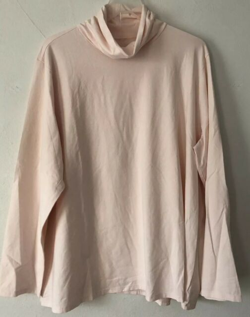 NEW PURE J. JILL 1X 2X 4X Relaxed Turtleneck Pima Cotton/Spx L/S Blush Pink