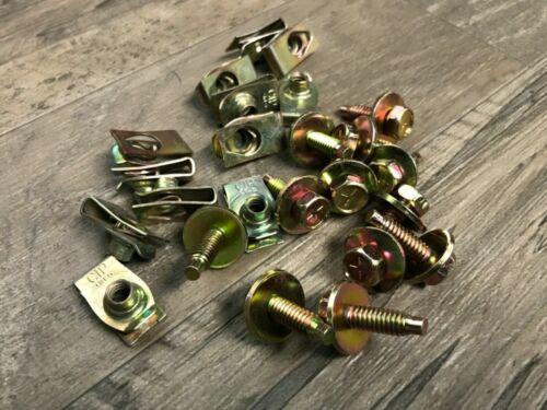 "12 under hood valance bolts with 12  U nuts 1//4-20 x 15//16/"" yellow zinc Jeep"
