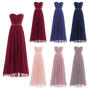 Damen Brautjungfernkleider Festliches Kleid Chiffon Abschlussball Abend Kleider Ebay