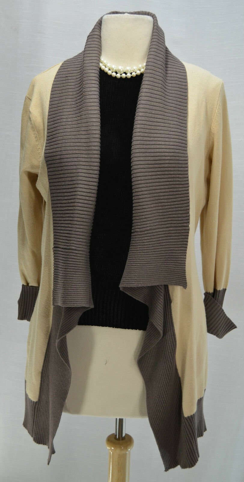 LYN 2 tone Taupe sweater coat Fly Away open Cardigan Shrug knit Duster top M NEW