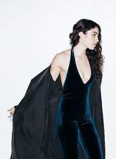 American Apparel Velvet Halter Catsuit Bodysuit Blue Nile Size XS NWT