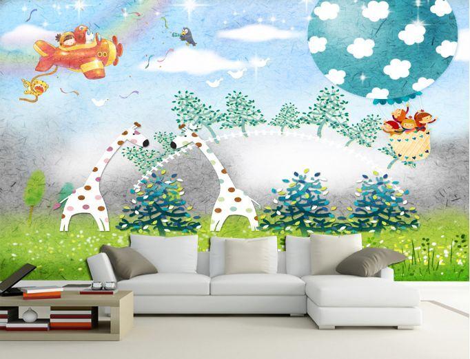 3D Belle Prairie 3 Photo Papier Peint en Autocollant Murale Plafond Chambre Art