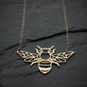 Image Is Loading Geometric Bee Necklace Origami Gold Honey