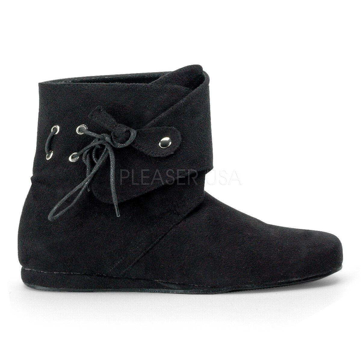PLEASER FUNTASMA Renaissance-50 Black Microfiber Robin Hood Medieval Ankle Boots