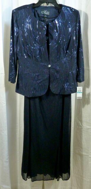 8bf9d80755dd8 Alex Evenings Women's Tea Length Mock Dress with Sequin Jacket Navy Size 16