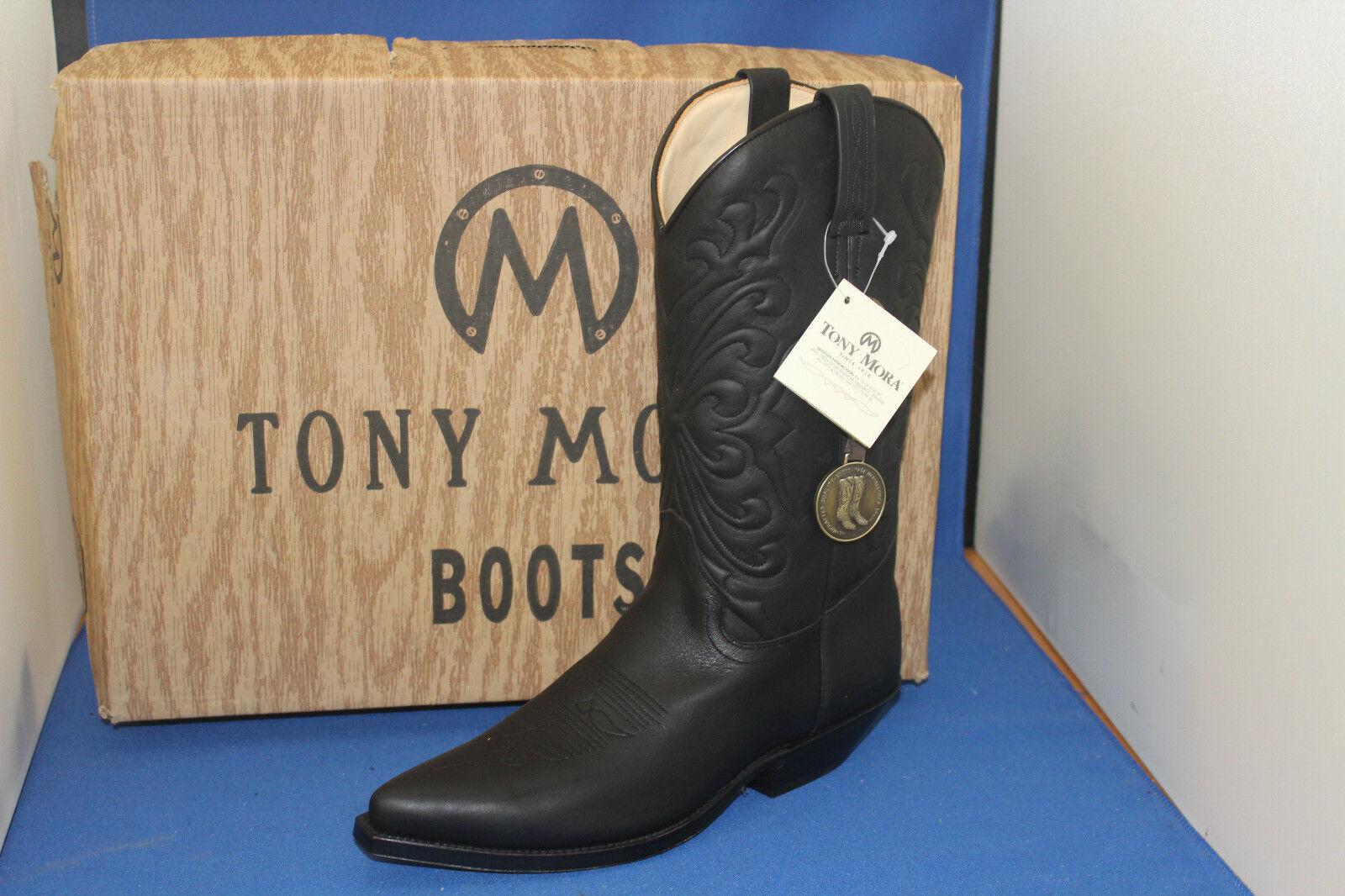 TONY MORA Boots Stiefel negro westernstiefel cowboystiefel  gr. 38  neu  leder