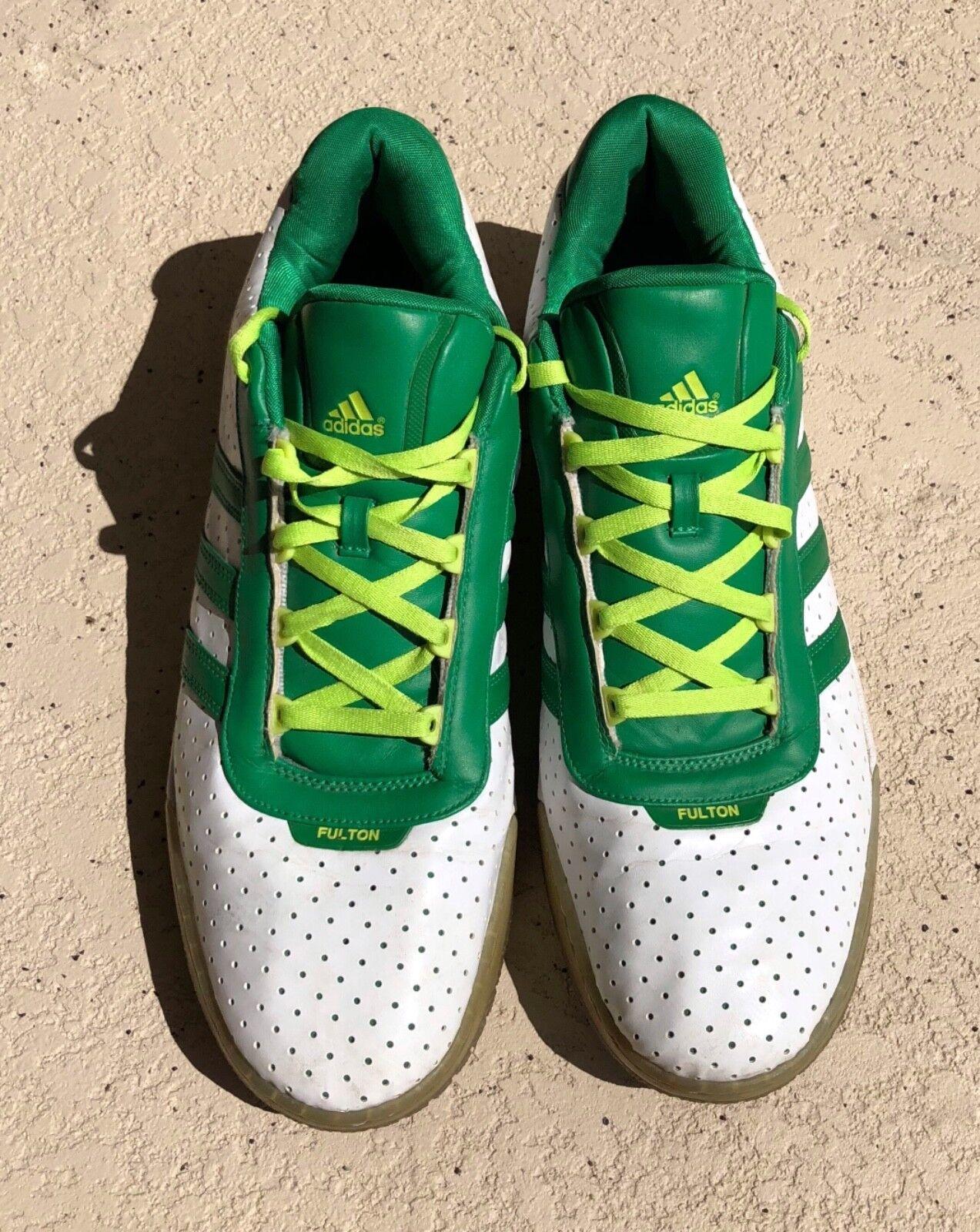 seltene adidas fulton grün - weiße niedrigen top leder trainer old - school - trainer leder 681001 sz. 776724