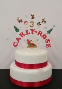 Admirable Santa Christmas Birthday Cake Topper Personalised Name Age Funny Birthday Cards Online Necthendildamsfinfo
