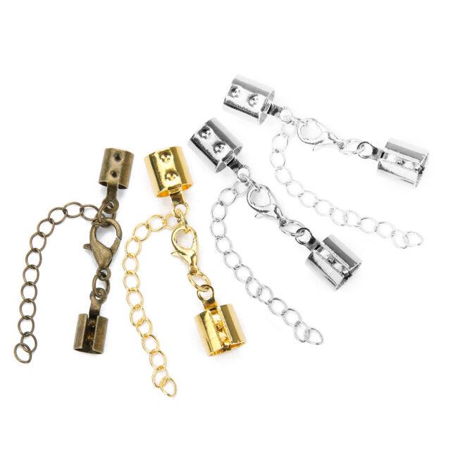 20 Coil Cord Spring Necklace Bracelet Leather Ends Connectors Greek Clasps