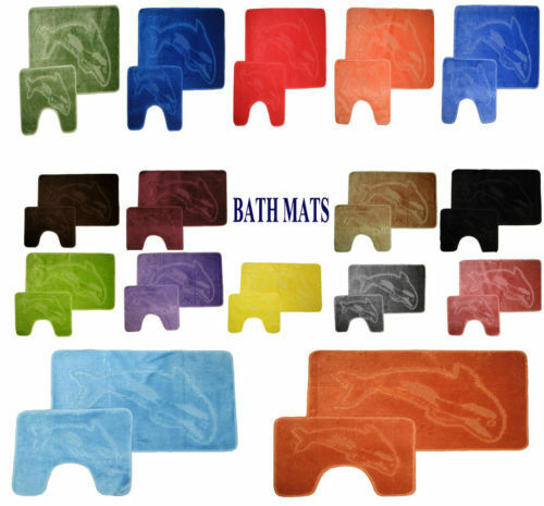 New Non Slip Dolphin 2 Pieces Bath Mat with Padestal Mat Set FREE UK POST
